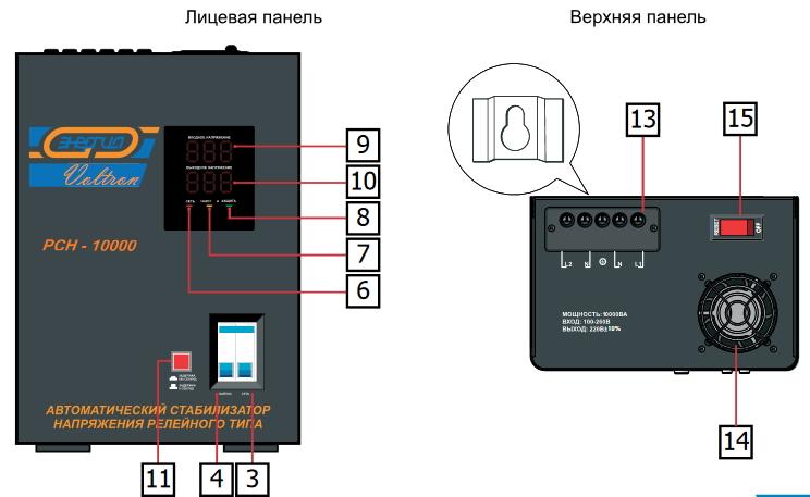 лицевая панель стабилизатора Voltron РСН 8000